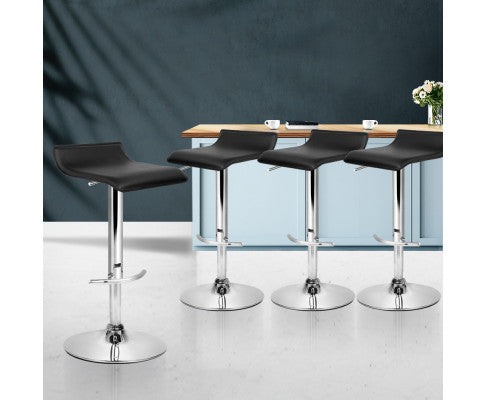 Set of 4 Bar Stools SENA Kitchen Swivel Bar Stool PU Leather Chairs Gas Lift Black