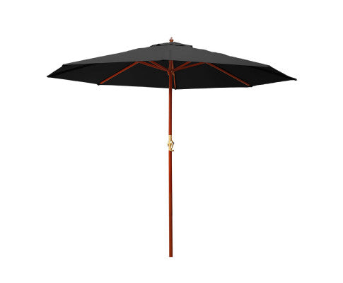 3M Outdoor Pole Umbrella Cantilever Stand Garden Umbrellas Patio Black, Garden Umbrella