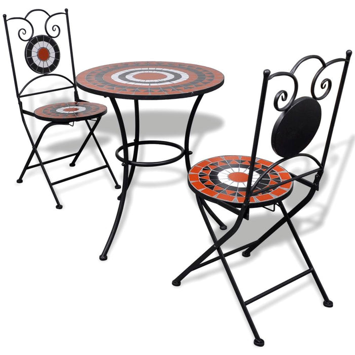 3 Piece Bistro Set Ceramic Tile Terracotta and White