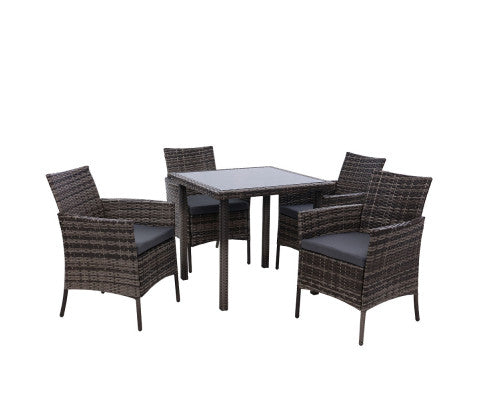 Outdoor Dining Set Patio Furniture Wicker Chairs Table Mixed Grey 5PCS, Garden Furniture Set