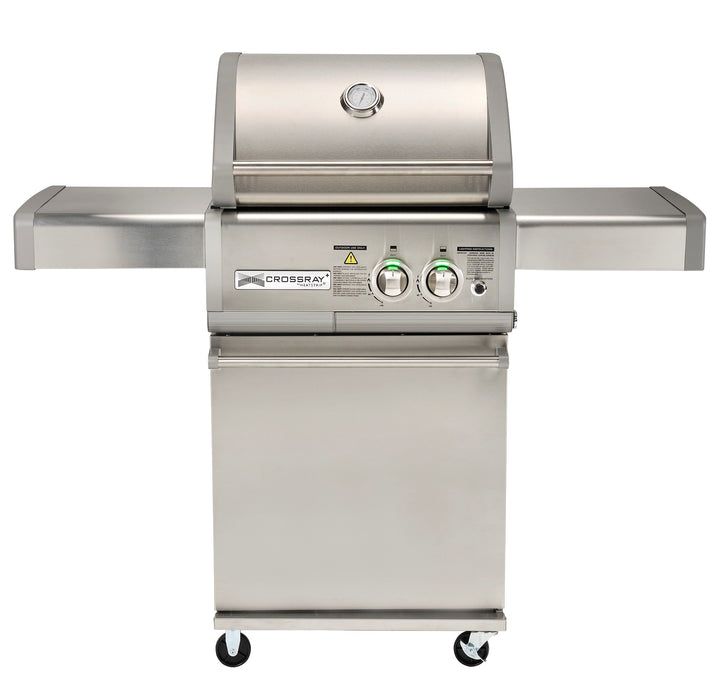 Crossray 2 burner Stainless Steel BBQ front  view