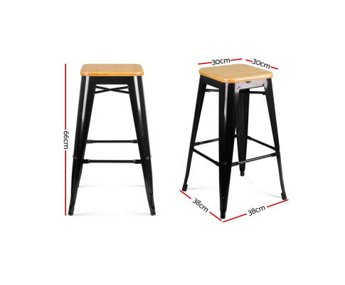 Artiss Set of 2 Wooden Backless Bar Stools- Dimensions