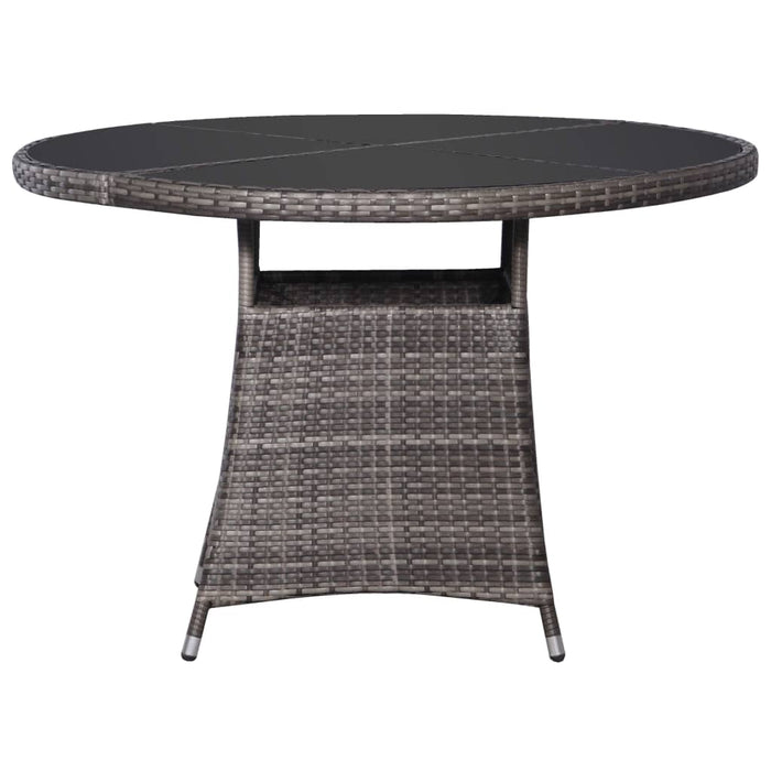 Garden Table Grey 110x74 cm Poly Rattan