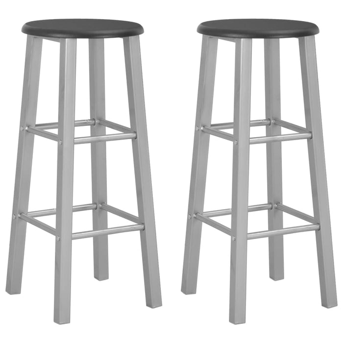 Bar Stools 2 pcs Silver MDF