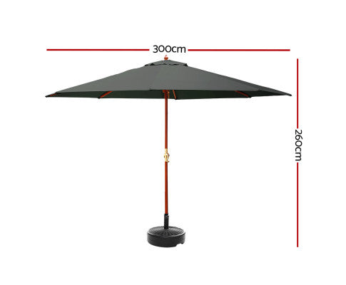 Dimensions of the Outdoor Umbrella w/ Base and Garden Stand