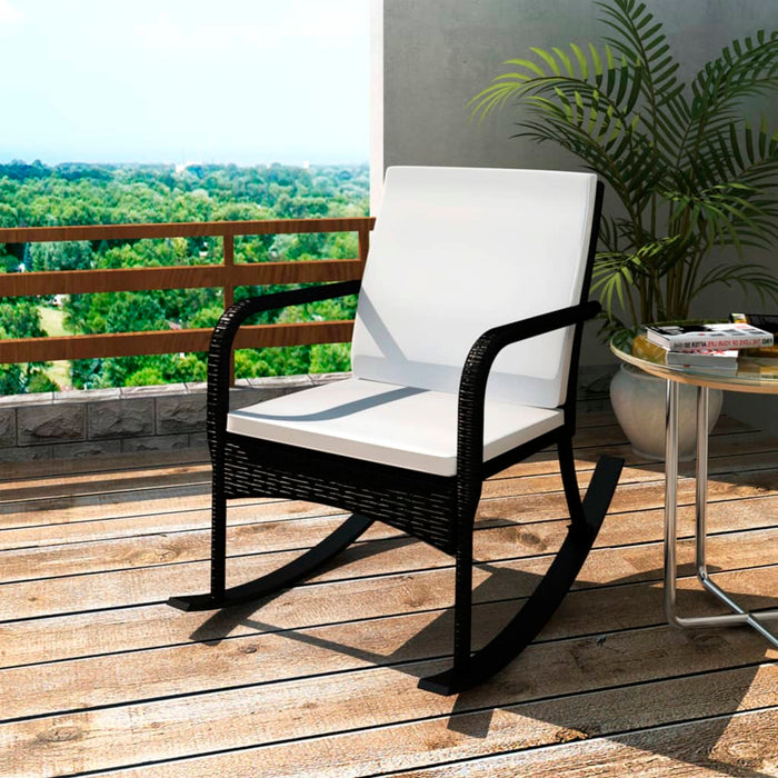 Garden Rocking Chair Poly Rattan Black