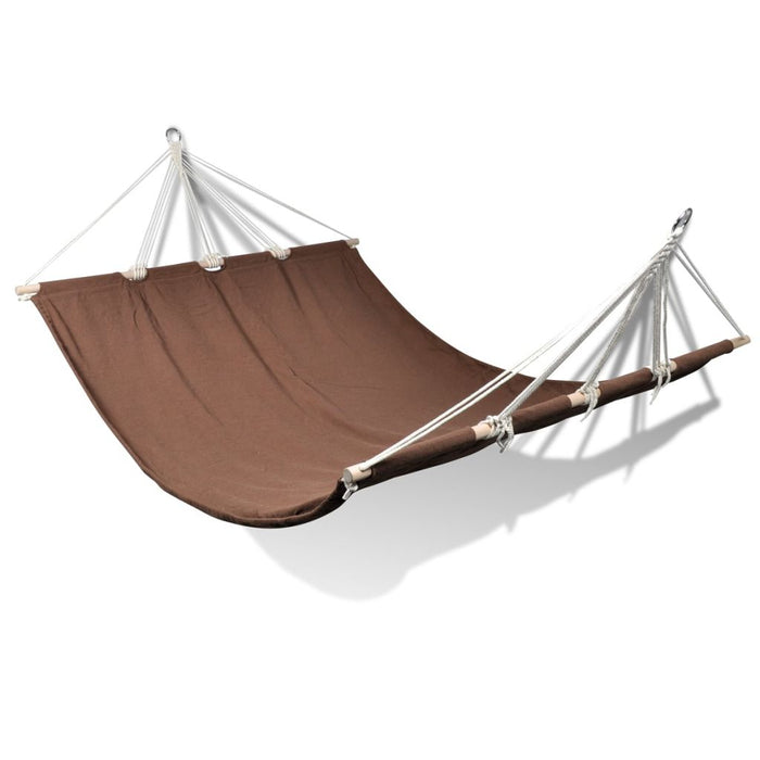 Outdoor hammock with wooden bar