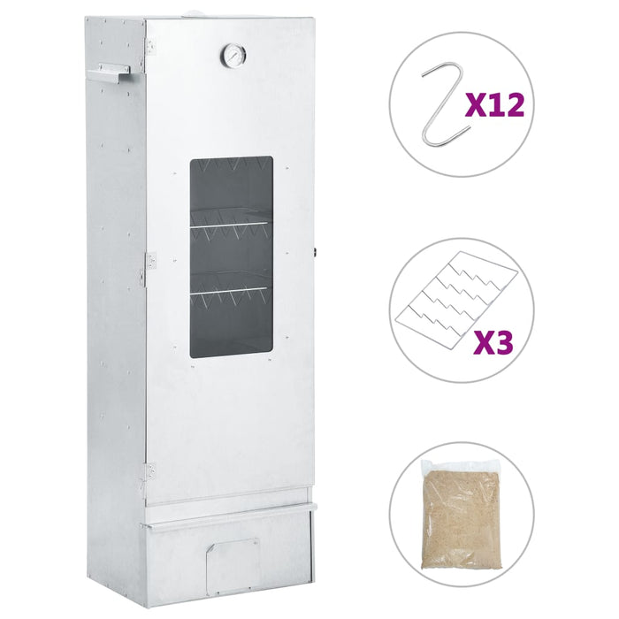 vidaXL BBQ Oven Smoker with 1kg Wood Chips 44.5x29x124 cm