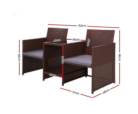 Dimensions of the Outdoor Setting Wiker Brown Furniture