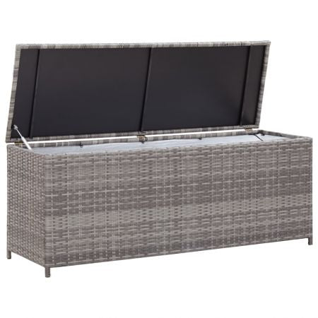 Garden Storage Box Grey 150x50x60 cm Poly Rattan