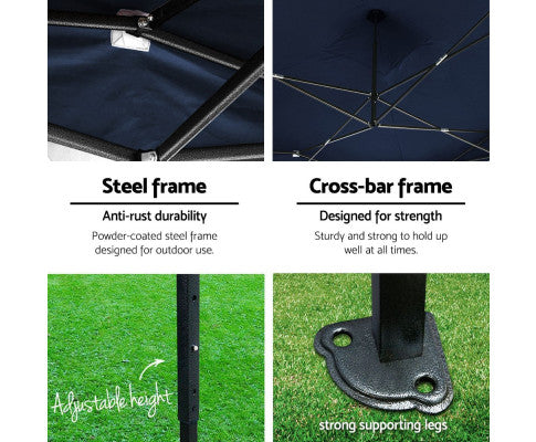 Gazebo w/ Steel Frame & Cross Bar Frame