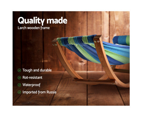 Timber Hammock Bed Swing - Blue