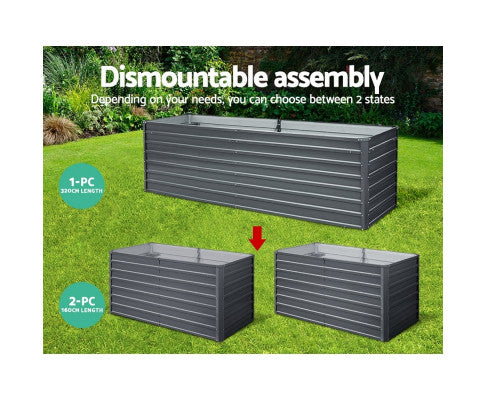 Garden Bed Galvanised Steel Raised  Planter 2 in 1 Dismountable  Assembly