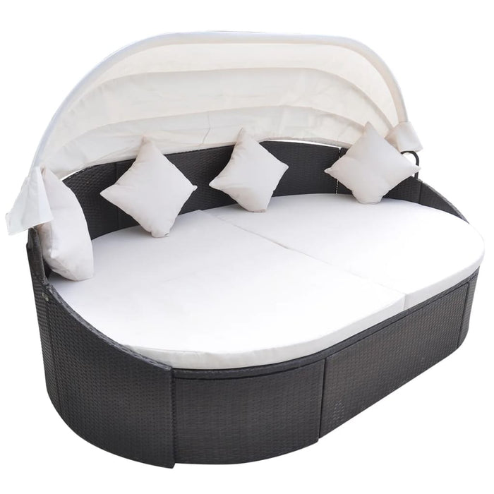Outdoor Lounge Bed with Canopy Poly Rattan Brown