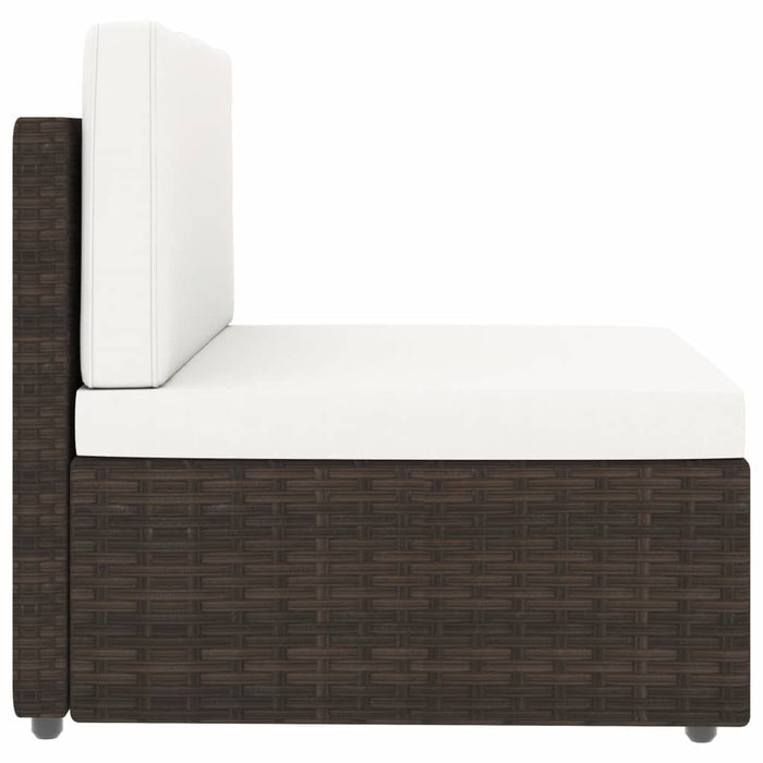 Piece Garden Lounge Set Poly Rattan Brown