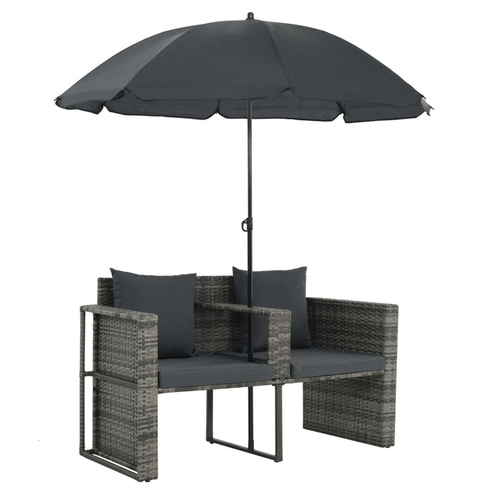 Poly rattan sofa with grey parasol
