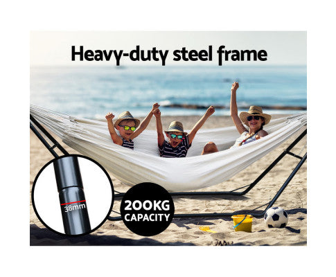 200kg Capacity Hammock Bed w/ Heavy Duty Steel Frame