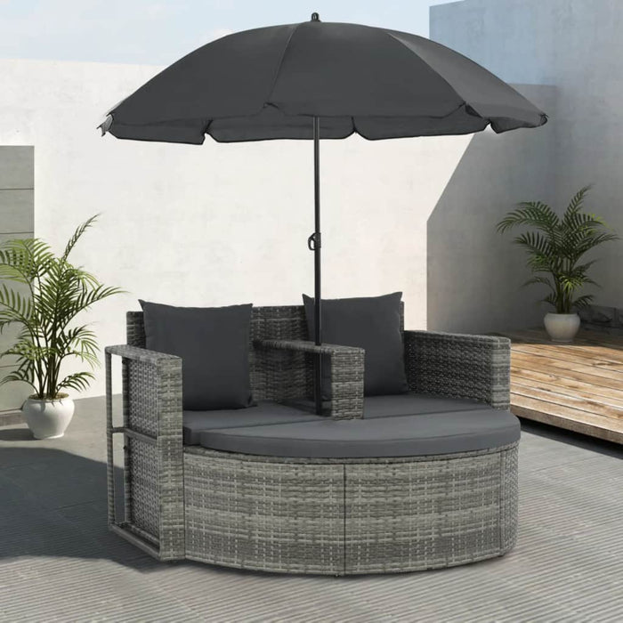 2 Seater Garden Sofa with Cushions and Parasol Grey Poly Rattan