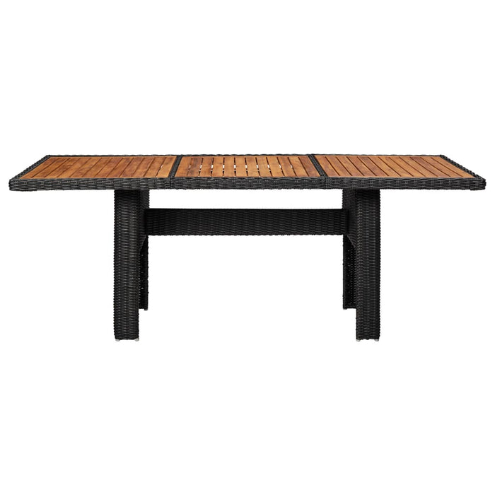 Garden Dining Table Black 200x100x74 cm Poly Rattan