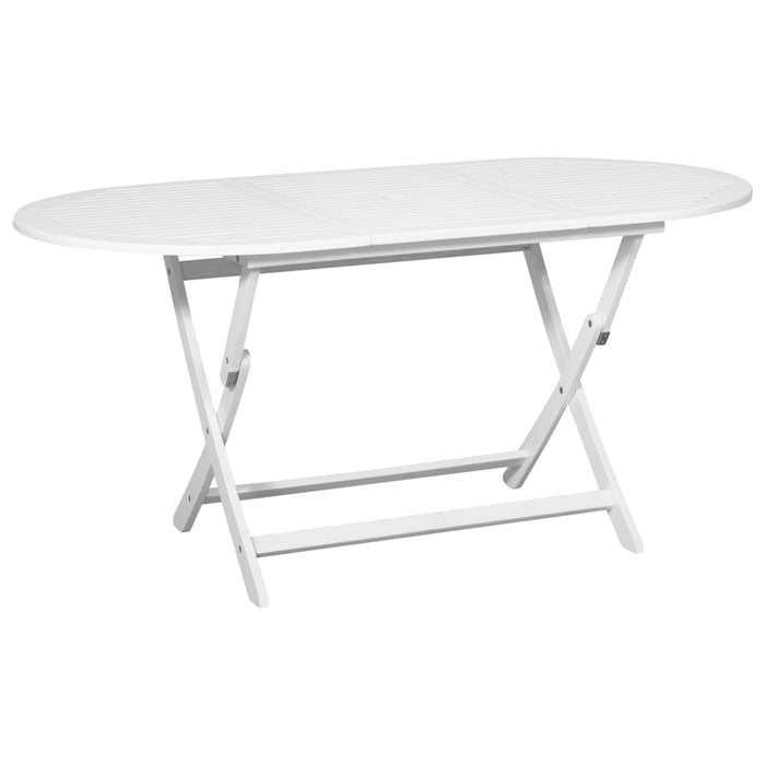 Outdoor Dining Table White 160x85x75 cm Acacia Wood Oval