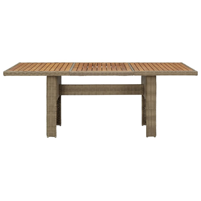 Garden Dining Table Brown 200x100x74 cm Poly Rattan