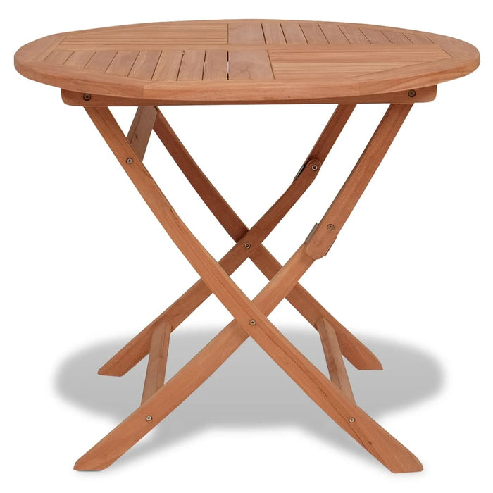 Folding Outdoor Dining Table Solid Teak Round 85x76 cm