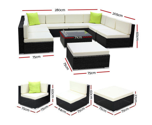 10 Pc outdoor garden furniture set's dimensions