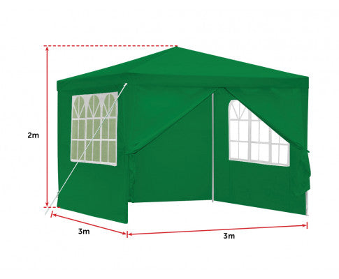 Dimensions of the Green Gazebo w/ Foldable Sides for Privacy