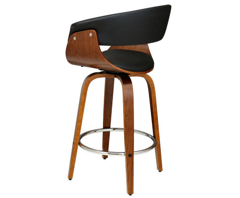 Side View of the Wooden Bar Stool with Deluxe PU Leather
