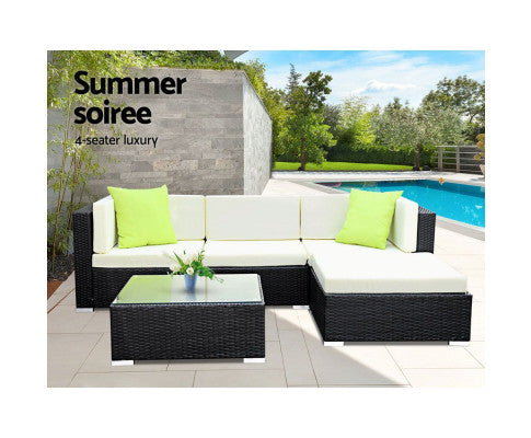 7PC Sofa Set with Storage Cover Outdoor Furniture Wicker