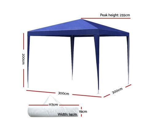 Gazebo 3x3m Tent Marquee Party Wedding Event Canopy Camping Blue