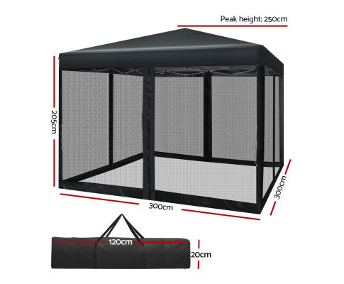 3x3 m outdoor gazebo black