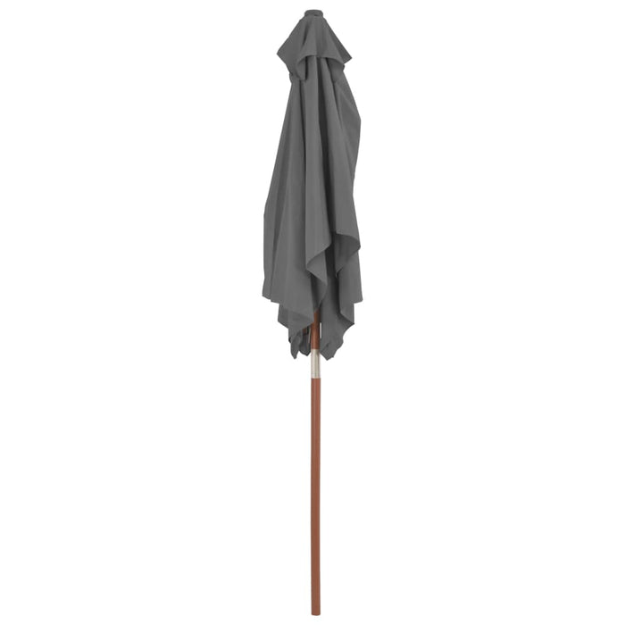 Outdoor Parasol with Wooden Pole 150x200 cm Anthracite