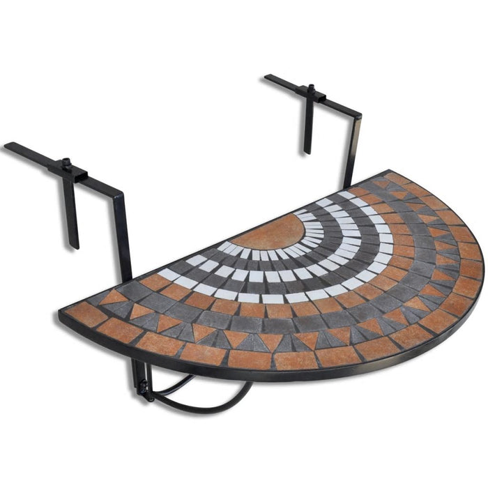Mosaic Balcony Table Hanging Semicircular Terracotta White