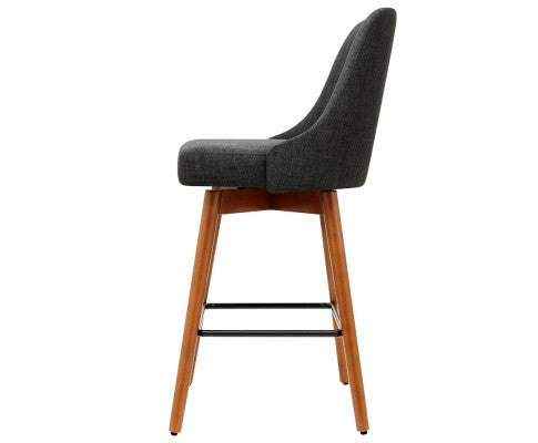 Side View of the Charcoal Wooden Barstool