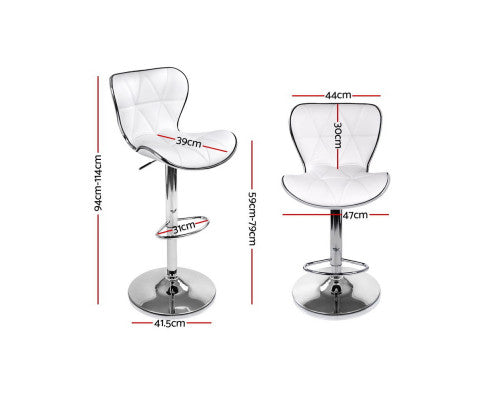 Set of 4 Bar Stools RUBY Kitchen Swivel Bar Stool PU Leather Chairs Gas Lift White