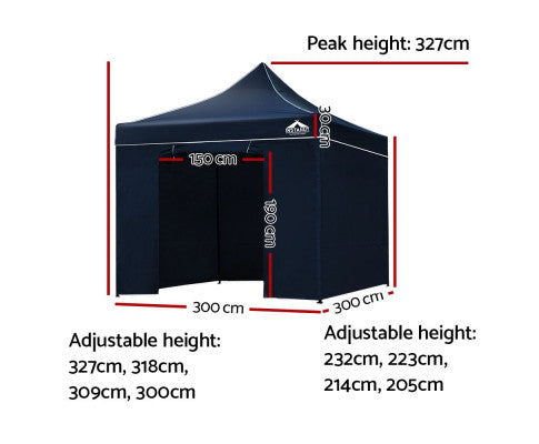 Dimensions of the Pop Up Gazebo