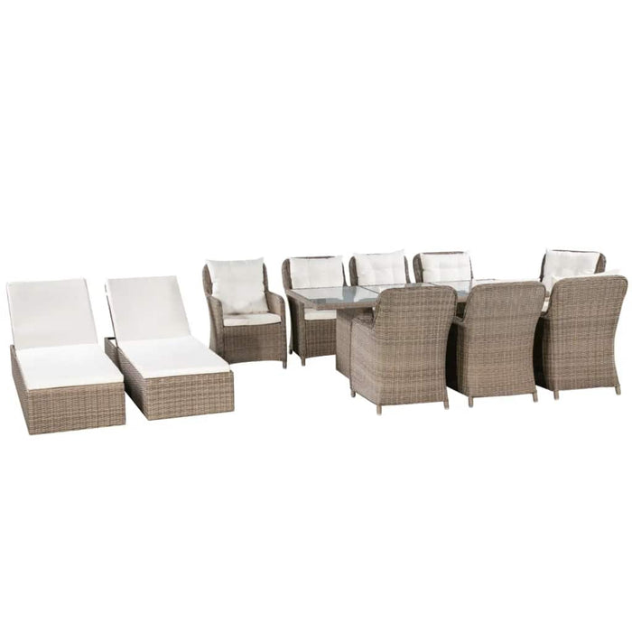 Outdoor Furniture 11 Piece Outdoor Dining Set with Sunloungers Poly Rattan Brown