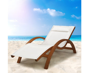 Outdoor Wooden Sun Lounge Setting Day Bed Chair Garden Patio Furniture