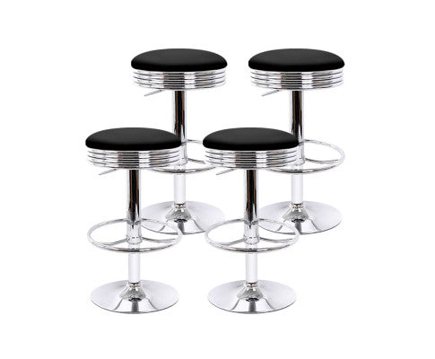 Artiss set of 4 PU Leather Bar Stools Bar Stool Dining Chair Black Anton Swivel
