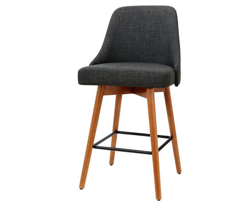 Set of 4 Wooden Bar Stools Swivel Bar Stool Chairs Charcoal