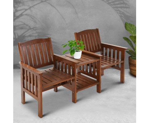 Garden Bench Chair Table Loveseat Wooden Outdoor Furniture Patio Park Brown