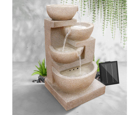 4 Tier Solar Powered Water Fountain with Light - Sand Beige, Water Fountain