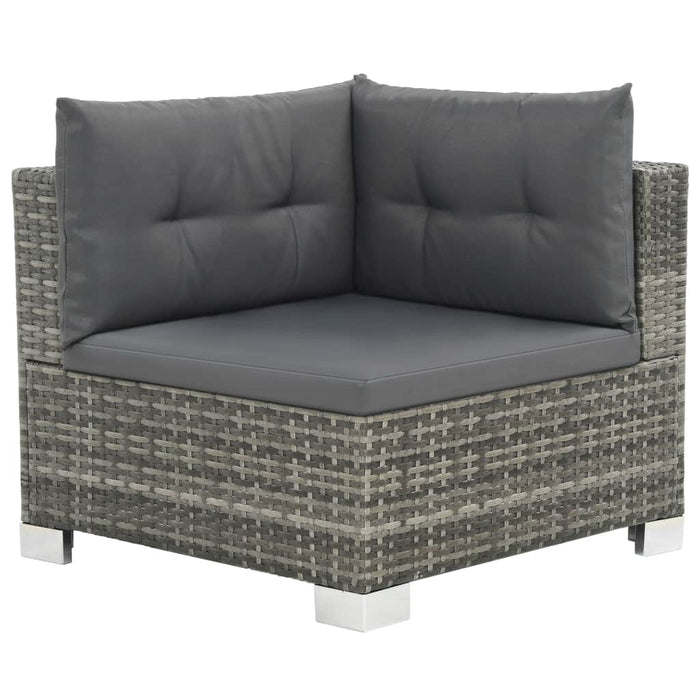 Garden chair with grey cushions