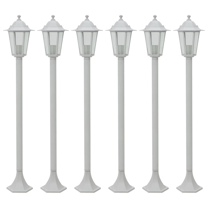 Garden Post Lights 6 pcs E27 110 cm Aluminium White