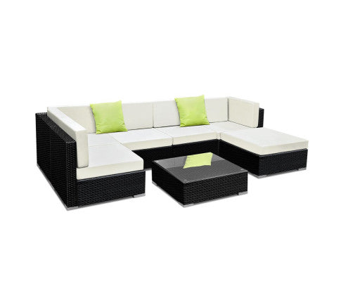 7PC Sofa Set with Storage Cover Outdoor Furniture Wicker, Gardeon Sofa, Outdoor Furniture Set, Garden Furniture Set