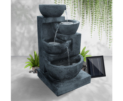 Water Fountain, Gardeon 4 Tier Solar Powered Water Fountain with Light - Blue
