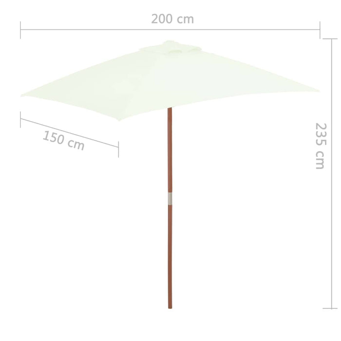 Outdoor Parasol with Wooden Pole 150x200 cm Sand