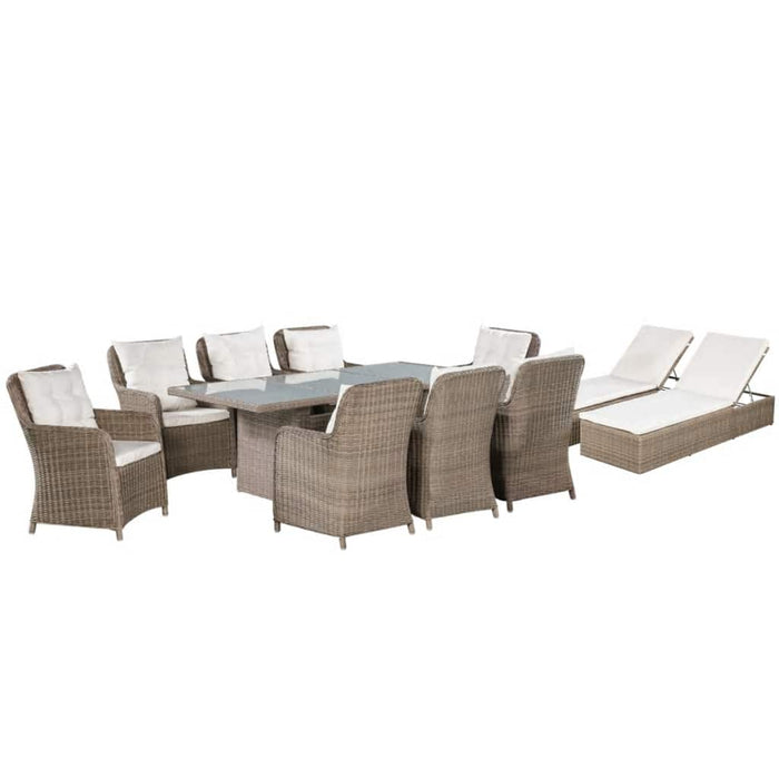 Outdoor Furniture 11 Piece Outdoor Dining Set with Sun Loungers Poly Rattan Brown