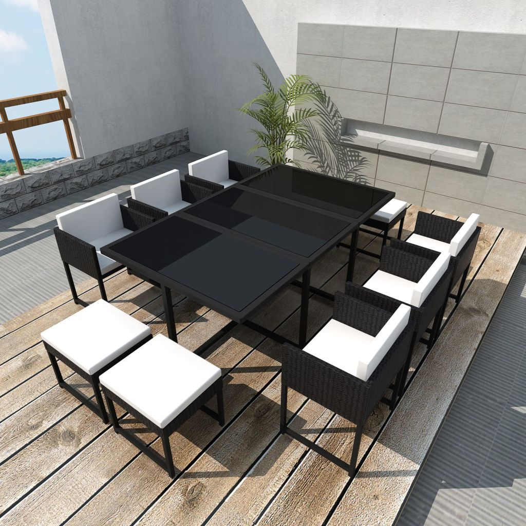 Outdoor Furniture 11 Piece Outdoor Dining Set with Cushions Poly Rattan Black